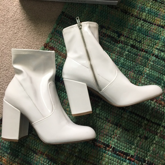 782c0adee Steve Madden Gaze white patent leather booties